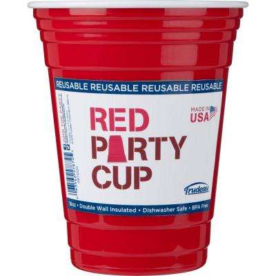 16 oz. Reusable, Double Wall Insulated Party Cup in Red