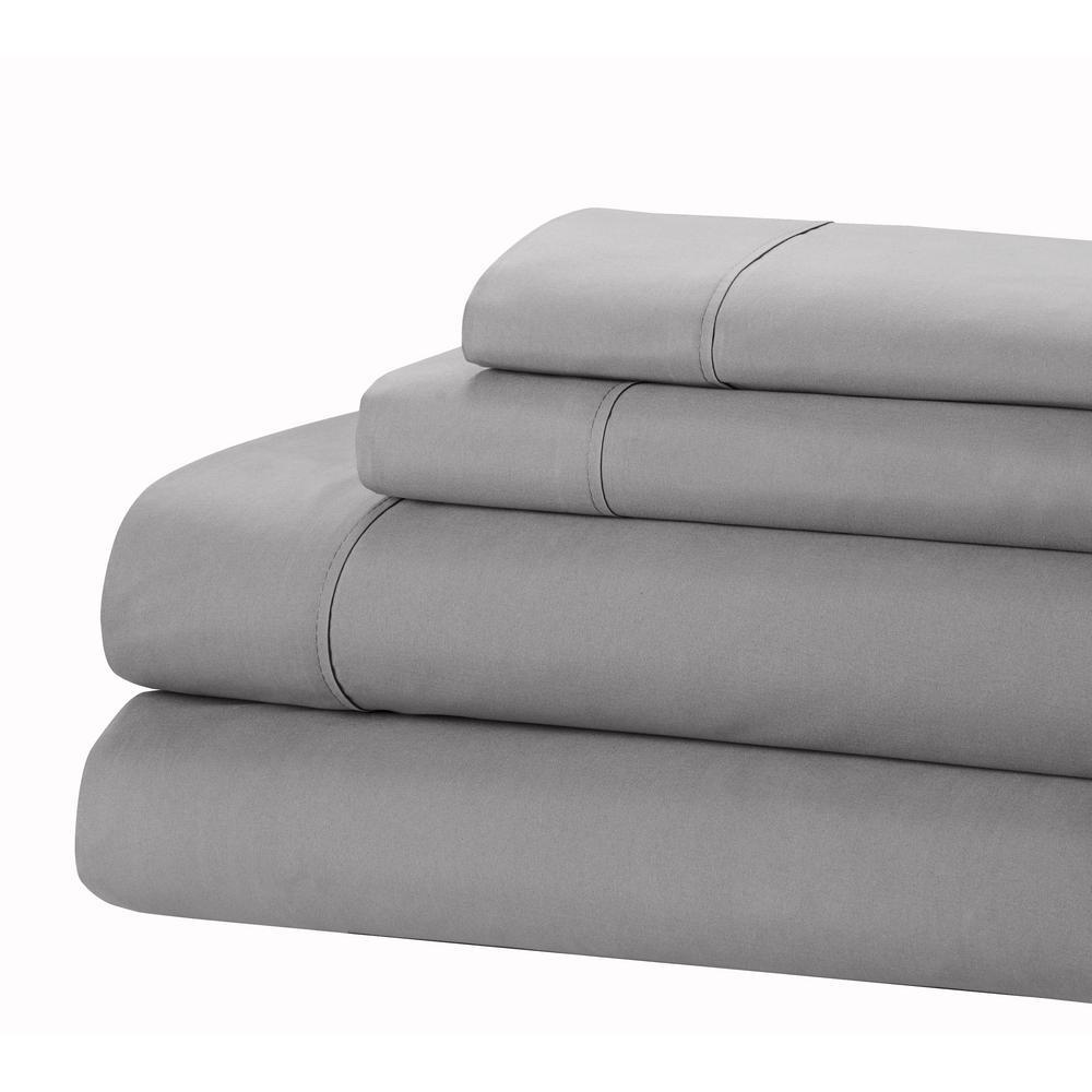 Home Dynamix Jill Morgan 3-Piece Gray Microfiber Twin Sheet Set T-JMFS-451