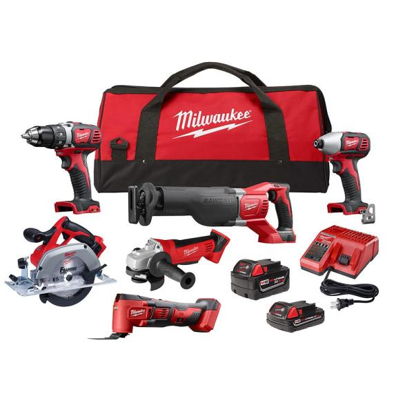 M18 18-Volt Lithium-Ion Cordless Combo Kit (6-Tool) with Two Batteries, Charger and Tool Bag