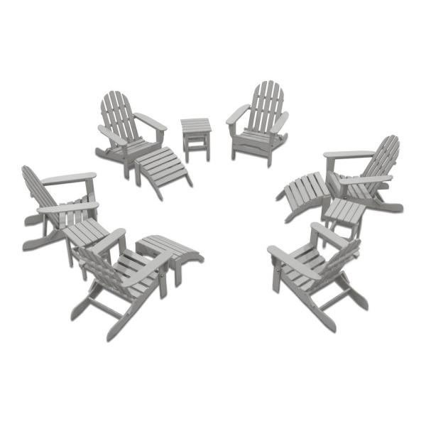 Icon Light Gray 12-Piece Plastic Adirondack Patio Conversation Set