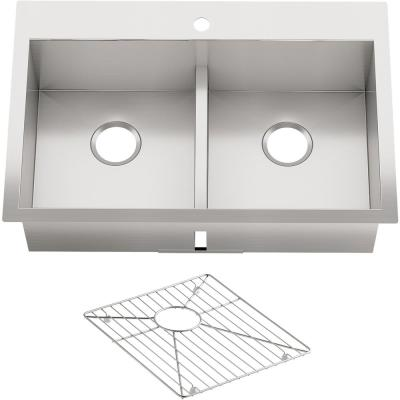 Vault Dual Mount Stainless Steel 33 in. 1-Hole Double Bowl Kitchen Sink with Basin Rack