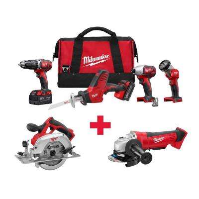 M18 18-Volt Lithium-Ion Cordless Combo Kit (4-Tool) with Free M18 Circ Saw and M18 Grinder