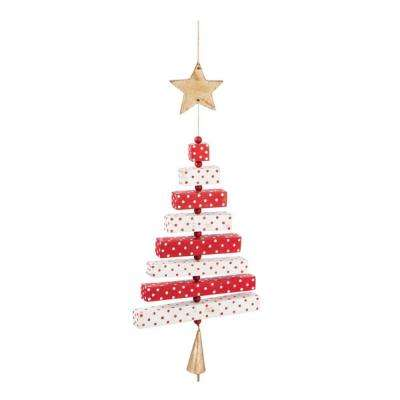 8 in. Red and White Wood Christmas Tree Ornament