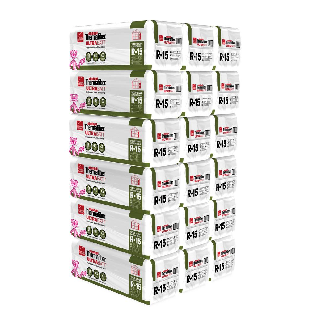 Owens Corning 15 in. x 47 in. R15 Thermafiber UltraBatt Mineral Wool Insulation (18-Bags)