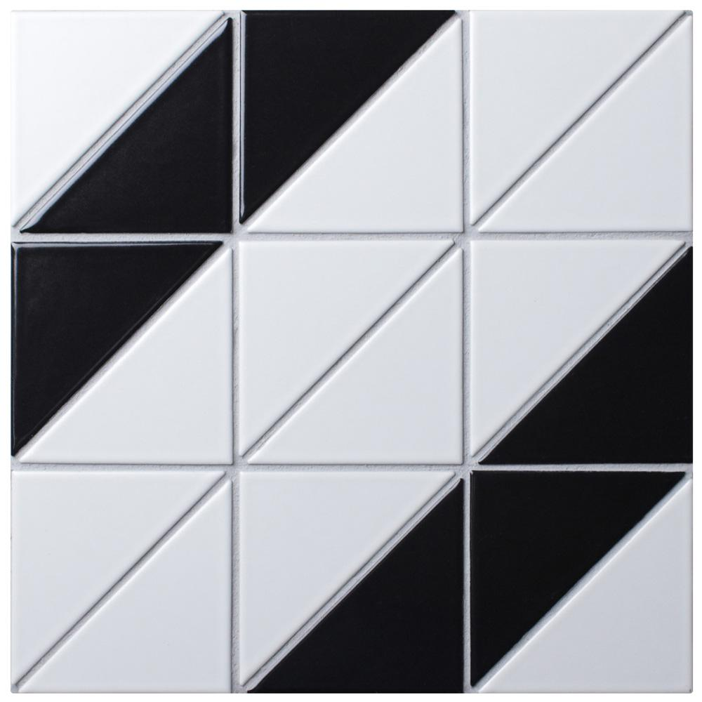 Merola Tile Tre Super Wide Diagonal Black With White 10 7 8 In