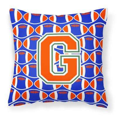 14 in. x 14 in. Multi-Color Lumbar Outdoor Throw Pillow Letter G Football Green, Blue and Orange