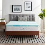 "Lucid Comfort Collection 3"" Twin Gel Swirl Memory Foam Mattress Topper"
