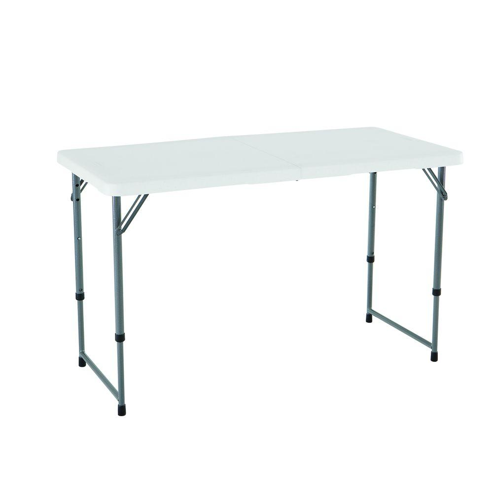 24 in. x 48 in. White Granite Adjustable Height Fold-In-Half Table