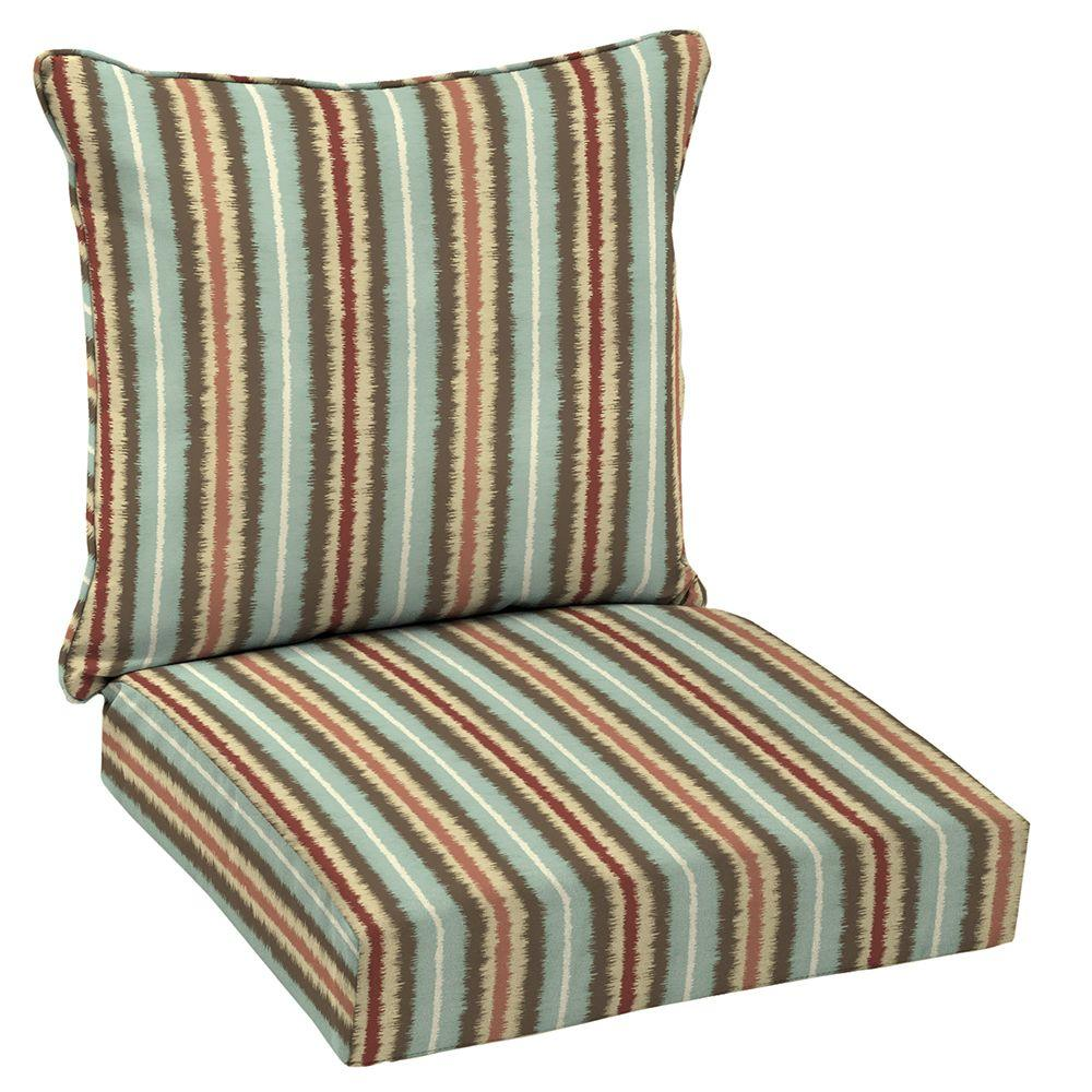 Genial Hampton Bay 24 X 24 Outdoor Lounge Chair Cushion In Standard Elaine Ikat  Stripe