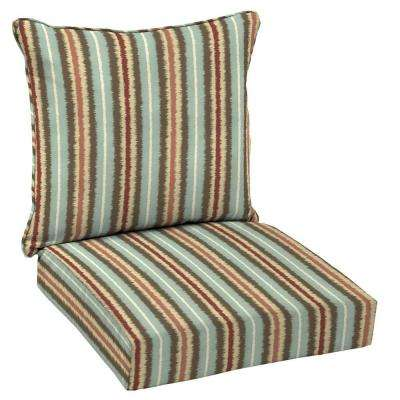 Elaine Ikat Stripe Welted 2-Piece Deep Seating Outdoor Lounge Chair Cushion Set