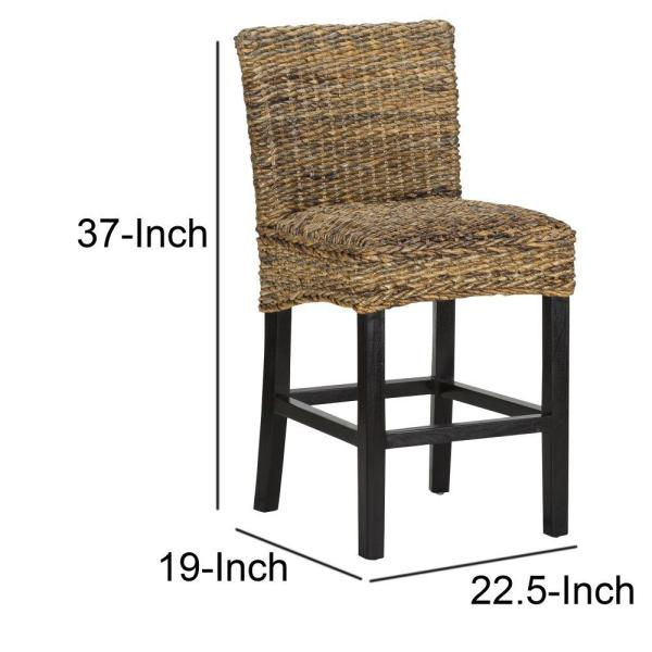 White Modern Desk Chair, Benjara 37 In Height Brown And Black Woven Rattan Counter Height Stool With Wooden Legs And Low Profile Backrest Bm195684 The Home Depot