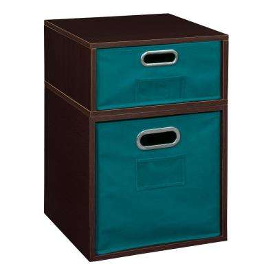 Cubo 13 in. x 19.5 in. Truffle 1 Half Cube and1 Full Cube Organizer with Teal Foldable Storage Bins