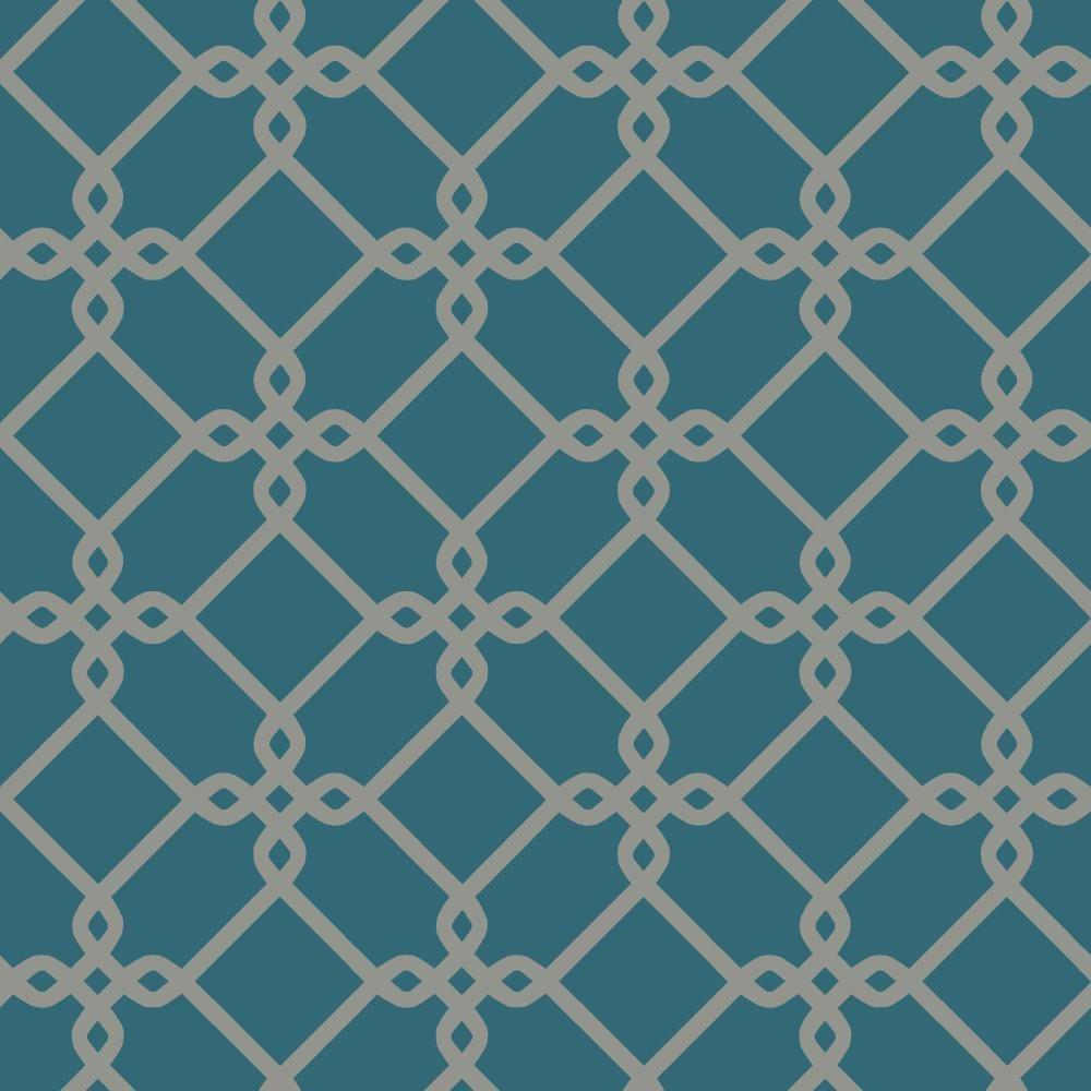 Ashford Threaded Links Wallpaper, Blue/Medium Grey