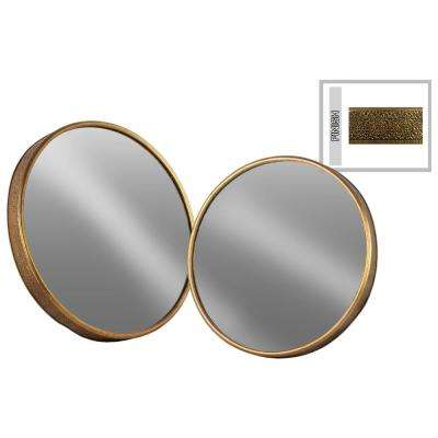 Round Gold Antique Tarnished Wall Mirror (Set of 2)