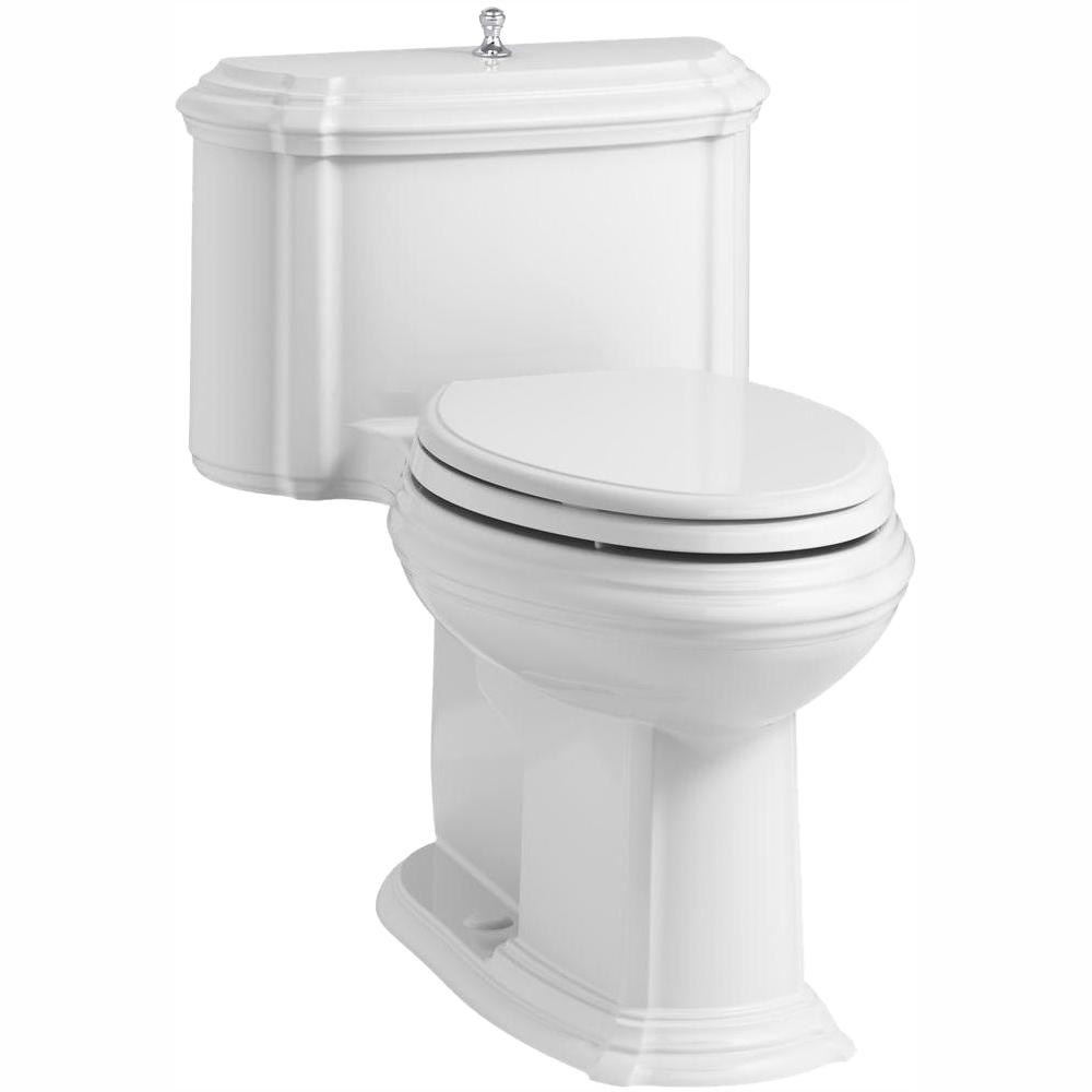 KOHLER KOHLER Portrait 1-piece 1.28 GPF Single Flush Elongated Toilet with AquaPiston Flush Technology in White, Seat Included
