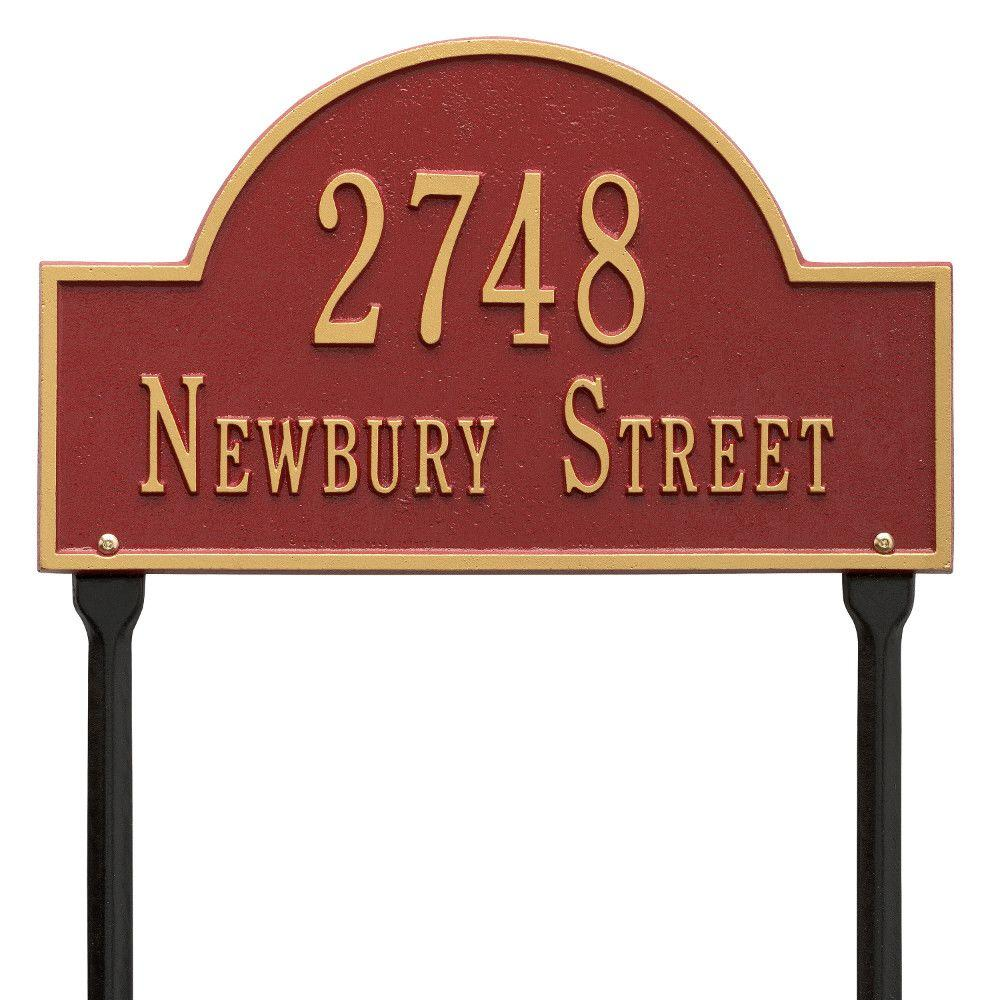 Arch Marker Standard Red/Gold Lawn 2-Line Address Plaque