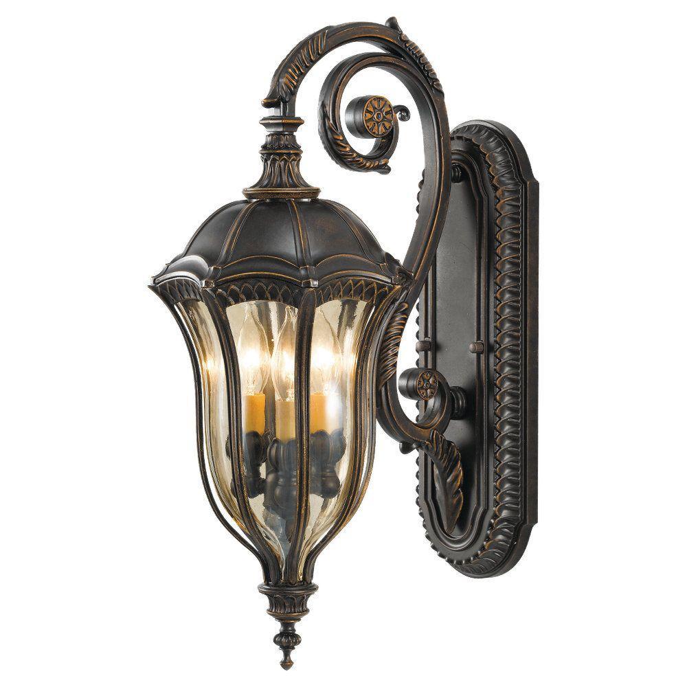 Baton Rouge 3-Light Walnut Outdoor 22.75 in. Wall Lantern Sconce