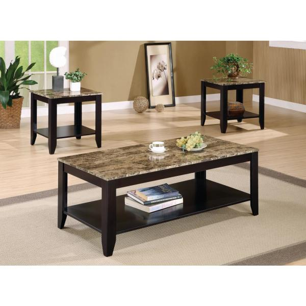 Coaster 3 Piece Cappuccino Occasional Table Set With Shelf And