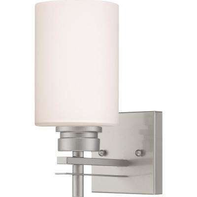 Carena 4.625 in. 1-Light Indoor Nickel Bath or Vanity Wall Mount Sconce with Etched White Cased Glass Cylinder Shade