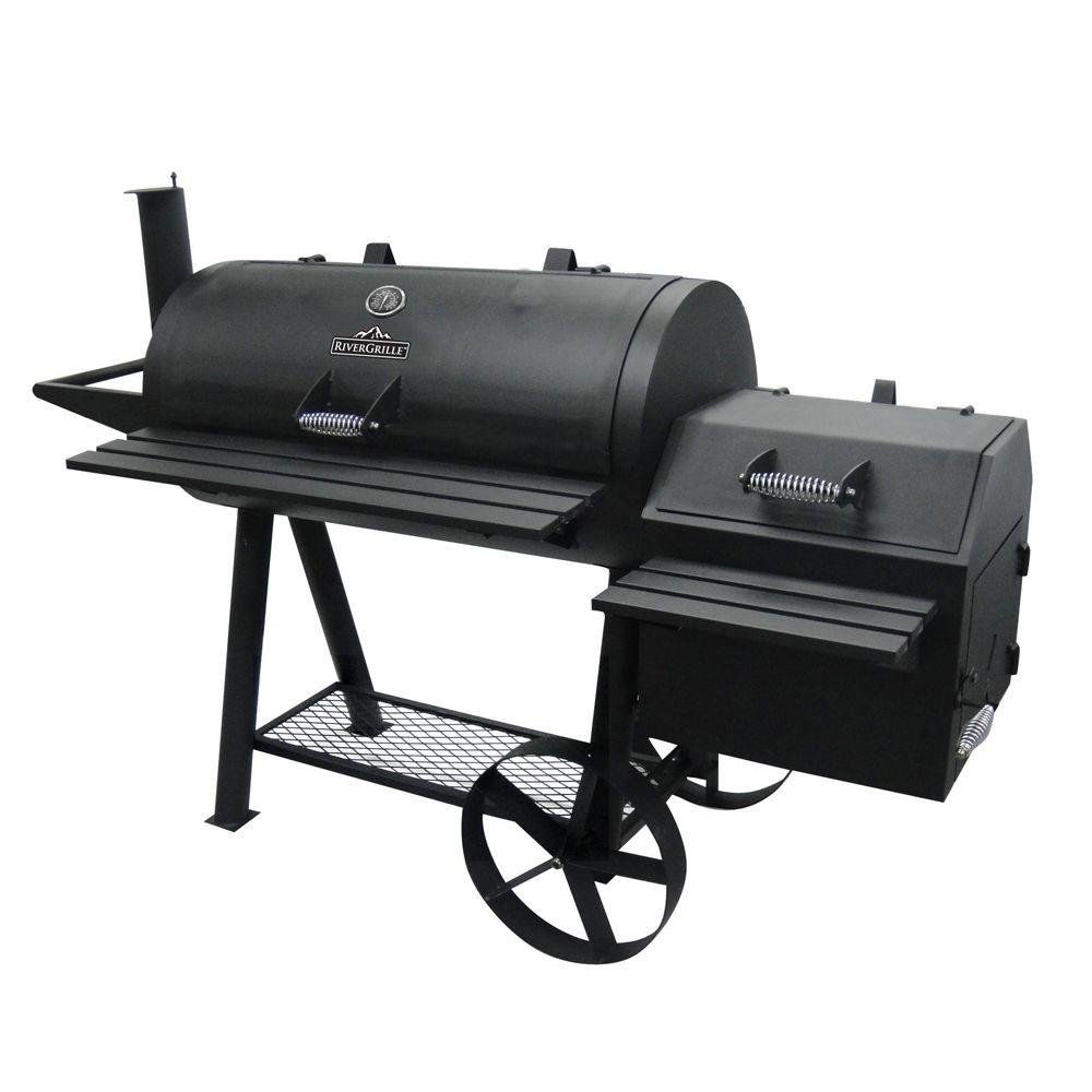 rivergrille farmer 39 s charcoal grill and off set smoker gr1008 013841 the home depot. Black Bedroom Furniture Sets. Home Design Ideas