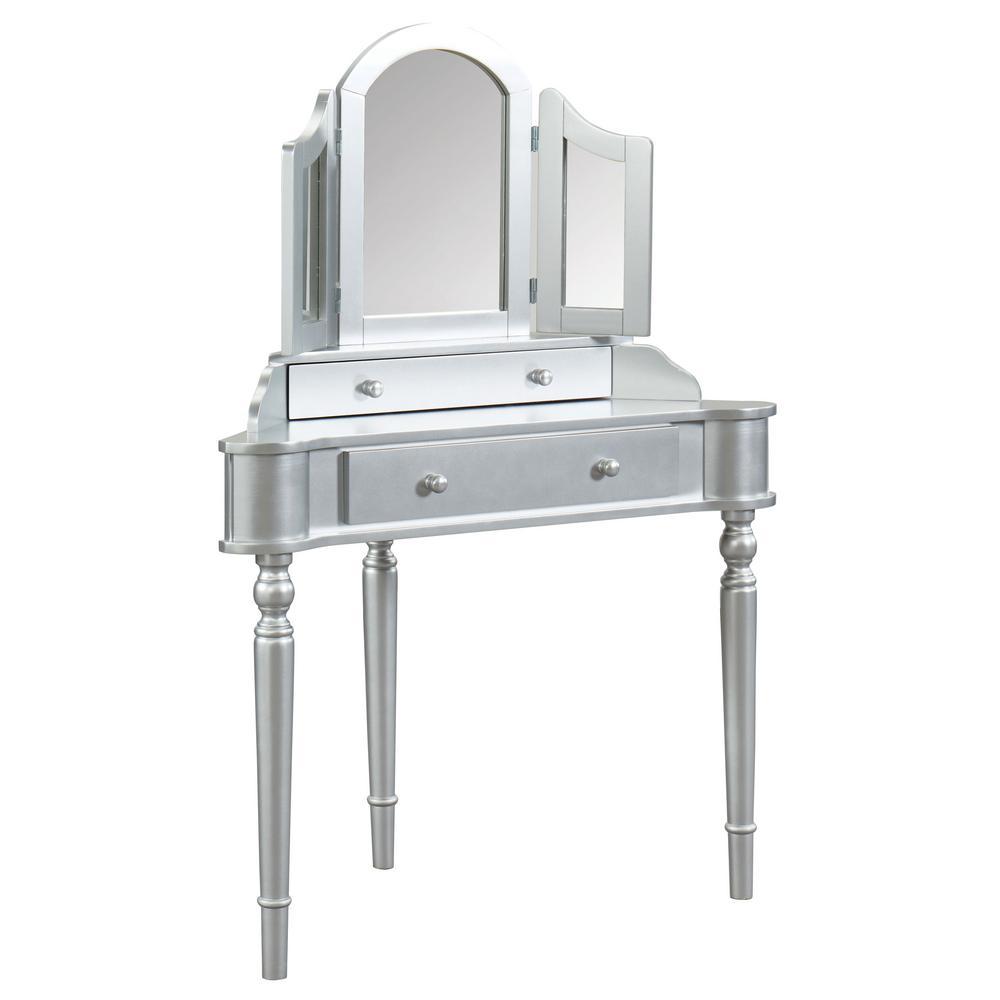 Kelly 3-Piece Silver Vanity Set