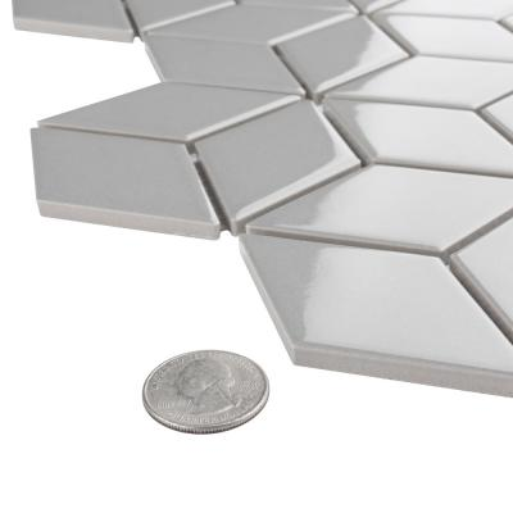 Metro Rhombus Glossy Light Grey 10-1/2 in. x 12-1/8 in. Porcelain Mosaic (9.04 sq. ft. / case)