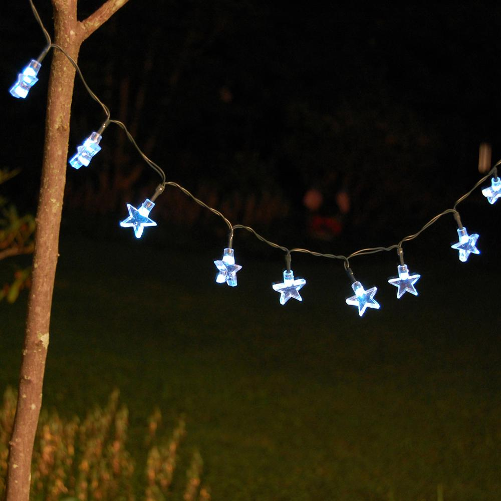 Lumabase 30-Light 13 Ft. White Stars Solar String Light