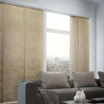 Adjustable Sliding Panel, Cordless Shade, Double Rail Track, Privacy Fabric, 80 in. W x 96 in. L, Abaca Taupe