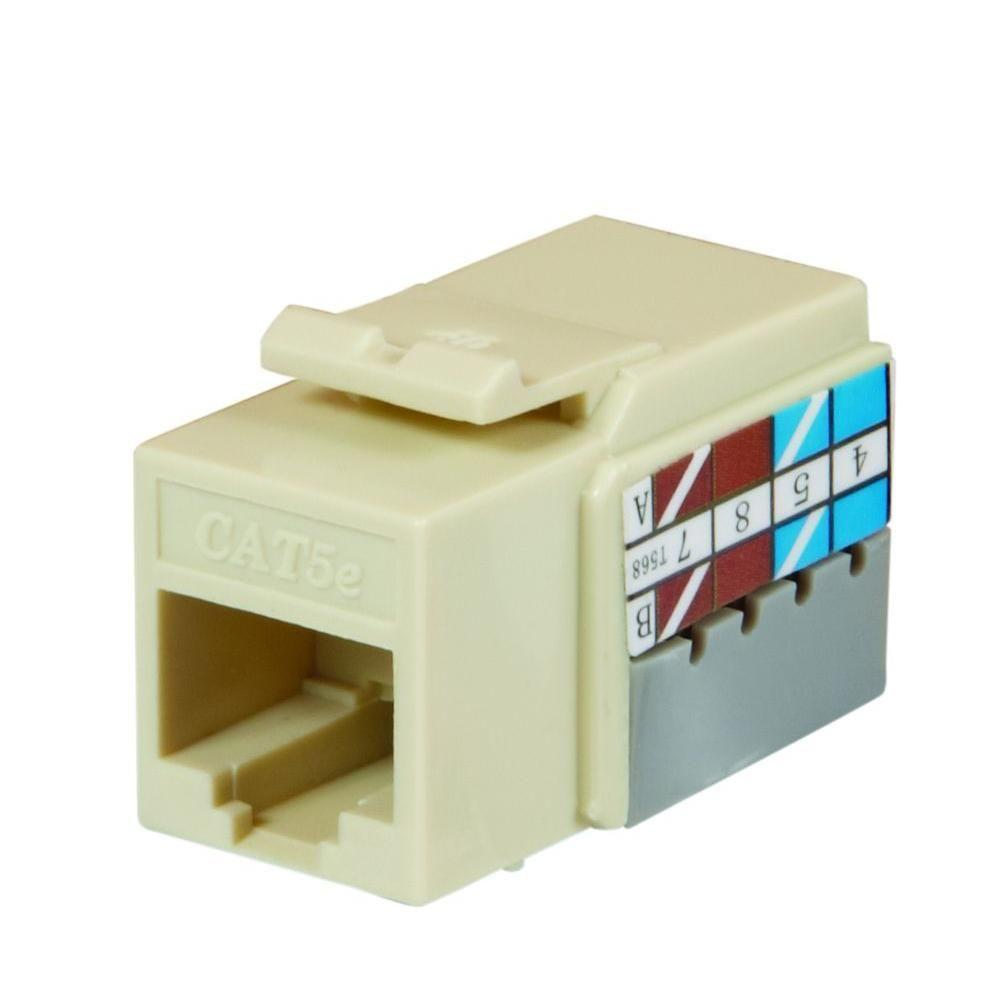 Commercial Electric Surface Mount Ethernet Jack White 468 8c Wh 110 Punch Down Wiring Diagram Category 5e Light Almond