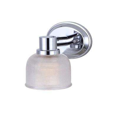 Anderson 1-Light Chrome Sconce with Clear Textured Glass