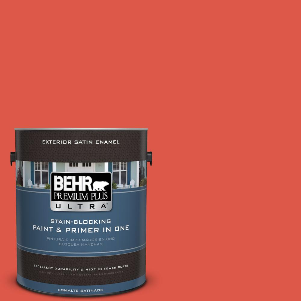 1-gal. #180B-6 Fiery Red Satin Enamel Exterior Paint