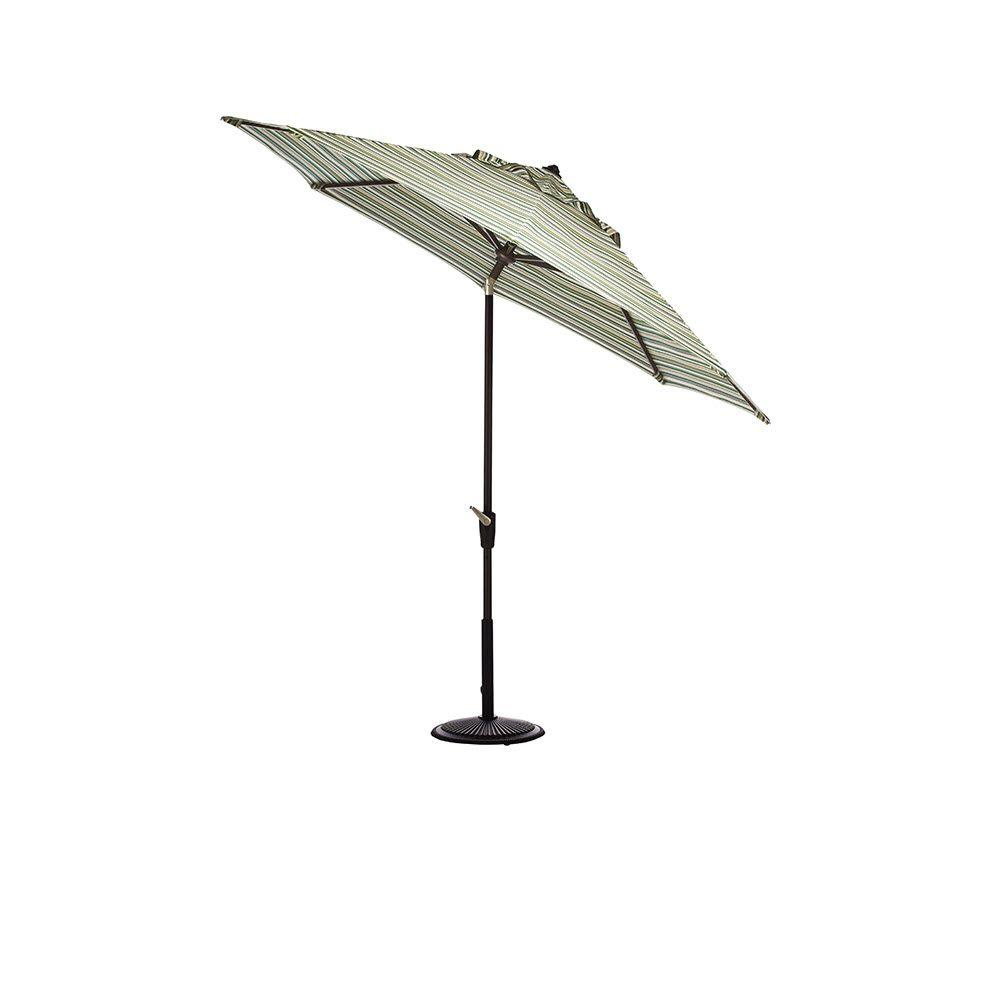 Home Decorators Collection 9 ft. Auto-Tilt Patio Umbrella in Catalina Cilantro Sunbrella with Black Frame