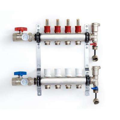 1 in. NPT Inlet x 1/2 in.  Stainless Steel Compression Connection 4-Outlet Radiant Heating Manifold