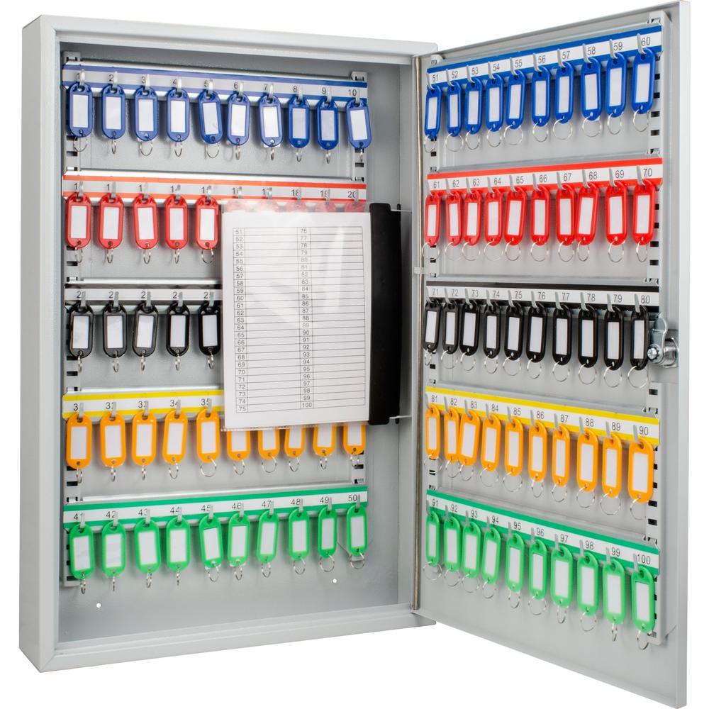 100-Position Steel Key Cabinet with Key Lock, Grey