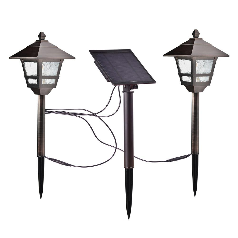 Hampton Bay Solar Bronze Outdoor Integrated Led 17 Lumens Landscape Pathway Light Kit With Panel 2 Pack
