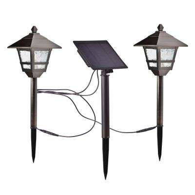 Solar Bronze Outdoor Integrated LED 17 Lumens Landscape Pathway Light Kit with Solar Panel (2-Pack)