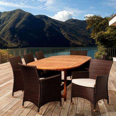 Halen 9-Piece Eucalyptus Extendable Oval Patio Dining Set with Off-White Cushions