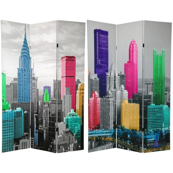 Oriental Furniture 6 ft. Printed 3-Panel Room Divider CAN-NY3
