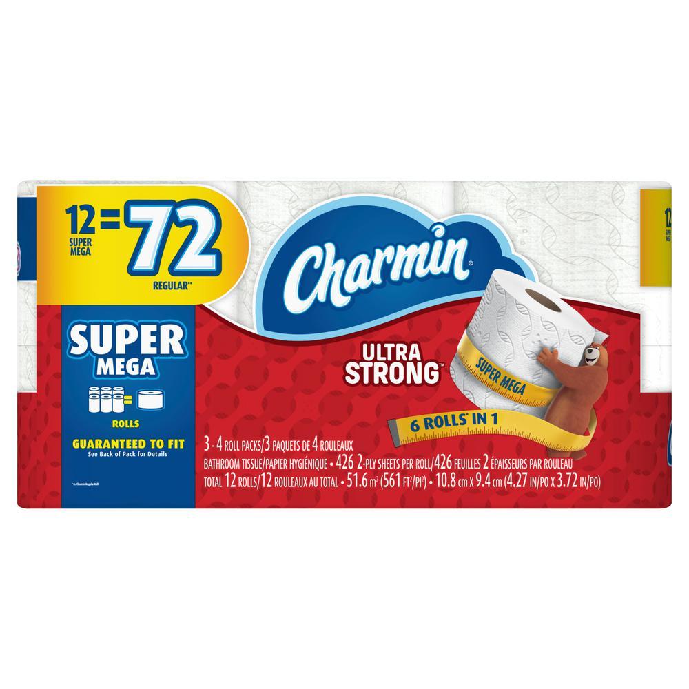 Charmin Ultra Strong Toilet Paper 12 Super Mega Rolls + $10 Gift Card