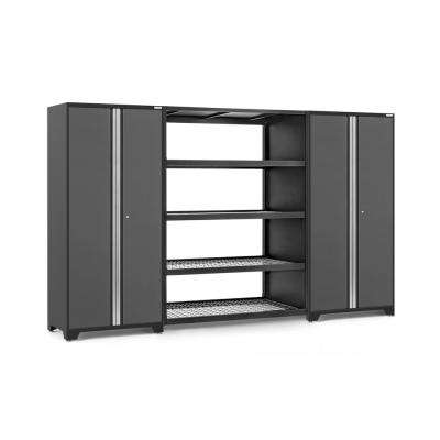 Pro Series 144 in. W x 84.75 in. H x 24 in. D 18-Gauge Steel Cabinet Set in Gray (3-Piece)