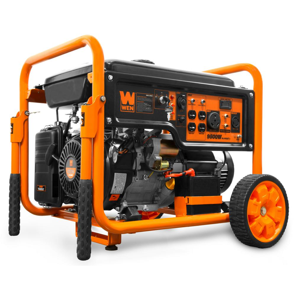 WEN 9500Watts 420cc Transfer Switch and RV Ready 120V/240V Portable Gas-Powered Generator w/ Remote Electric Start, CARB