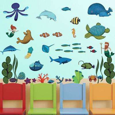 Under the Sea Multi Peel and Stick Removable Wall Decals Ocean Theme Wall Mural (44-Piece Set)