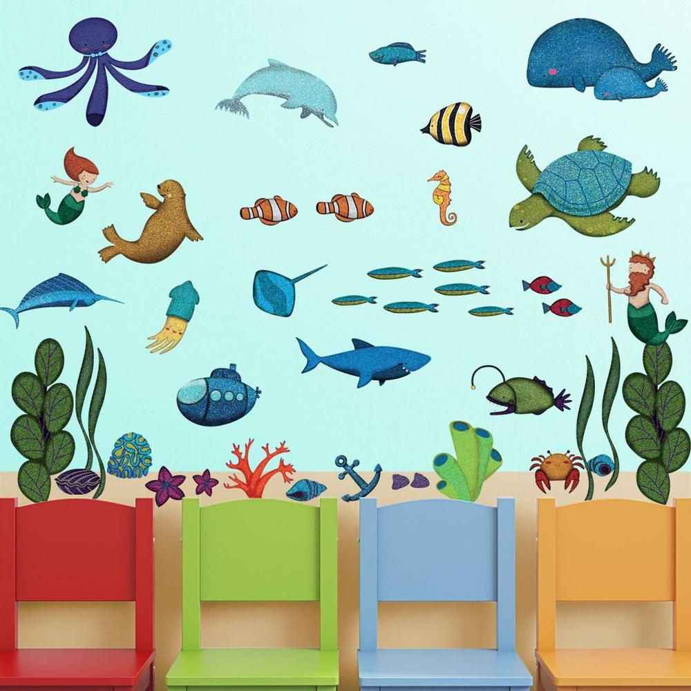 Under The Sea Multi Peel And Stick Removable Wall Decals Ocean Theme Wall Mural (44-Piece Set