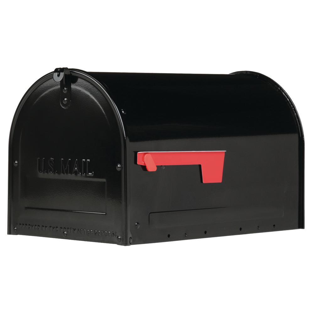 Gibraltar Mailboxes Marshall Large, Locking, Steel, Post-Mount Mailbox, Black