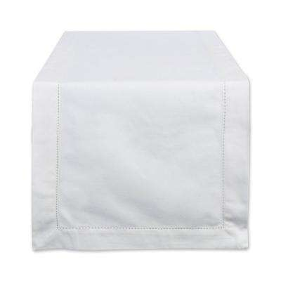 Off-White Hemstitch Cotton Table Runner