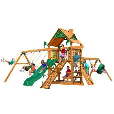 Frontier Wooden Swing Set with Tire Swing and Slide