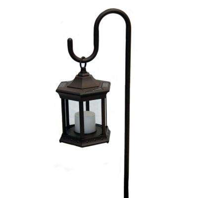 Solar Lantern with Clear Glass and Shepherds Hook