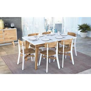 Manhattan Comfort Jackie White And Natural Wood 6 Seat