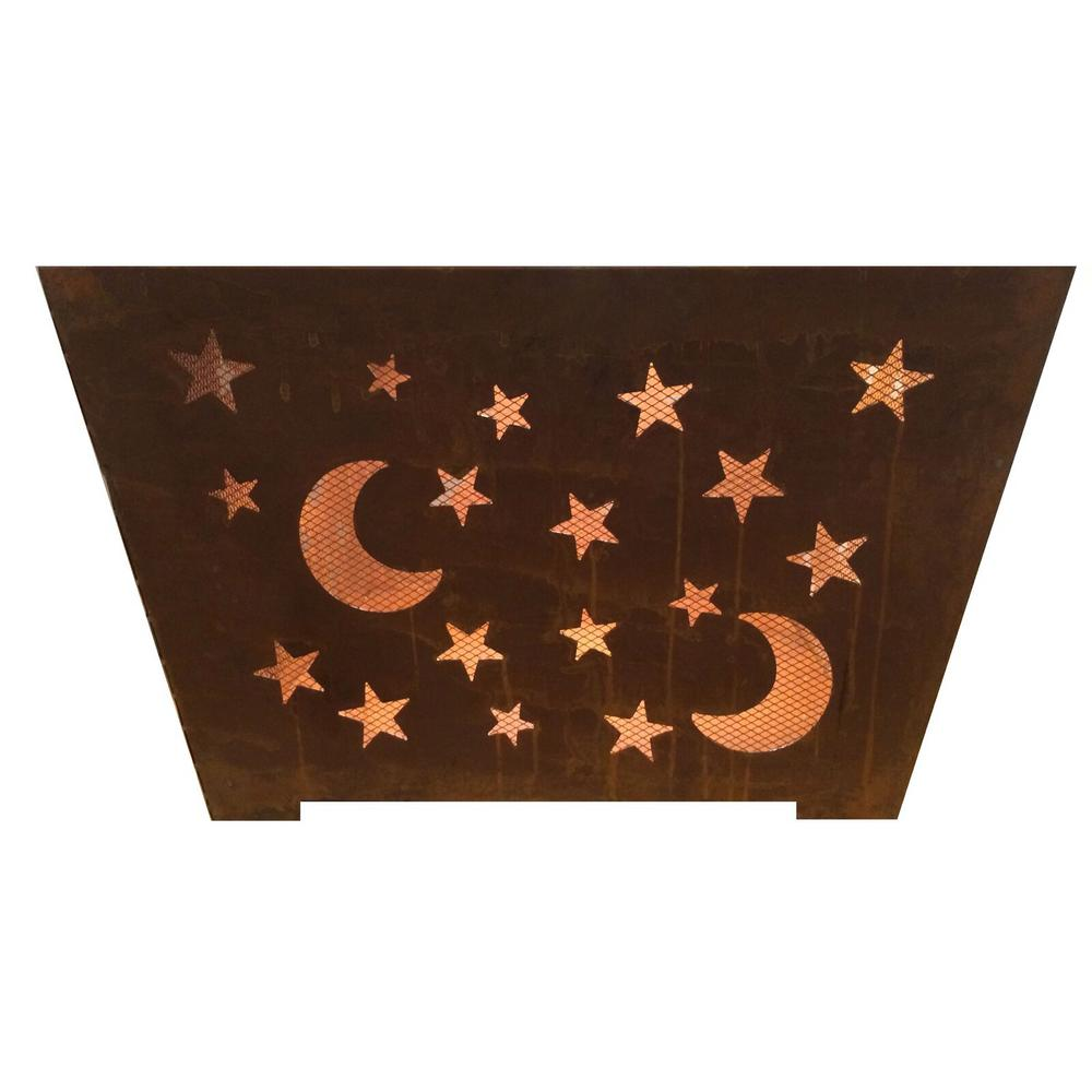 Star and Moon 24 in. x 16 in. Square Steel Wood