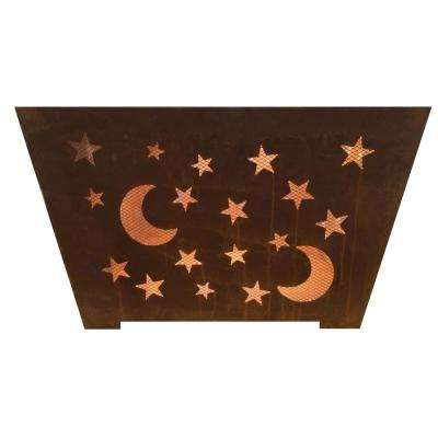Star and Moon 24 in. x 16 in. Square Steel Wood Burning Fire Pit in Rust